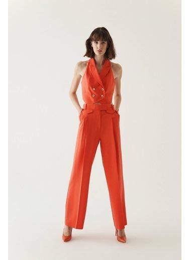 Rue Dekoratif Cepli Geniş Kesim Pantolon Kırmızı